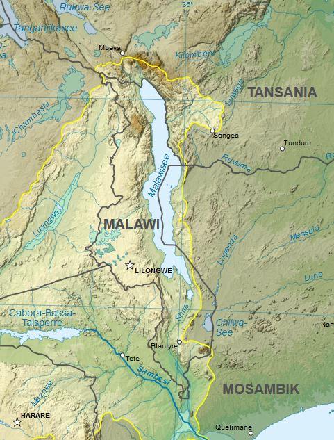 Malawi Karte klein